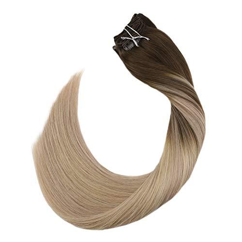 Ugeat 18 pollici/45cm extension clip marrone mixed with biondo veri remy clip in capelli umani estensioni 120g/7pcs clips extension capelli veri clip 100% remy capelli lisci