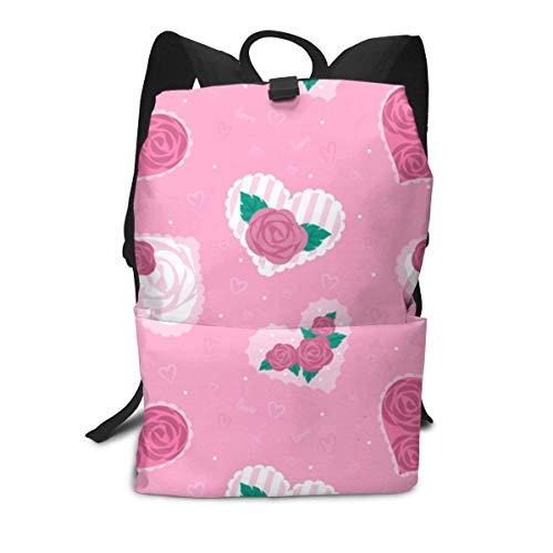 Rose Inside Heart Backpack Middle für Kinder Jugendliche Schulreisetasche