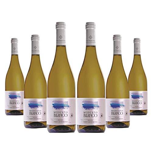Muscat Blanc (6 x 750ml) Bio edel Schaumwein Halbsüß | Muscat d'Alexandrie aus kontrolliert biologischem Landbau auf vulkanischem Boden | Naturreiner Restsüße - Premium Qualität