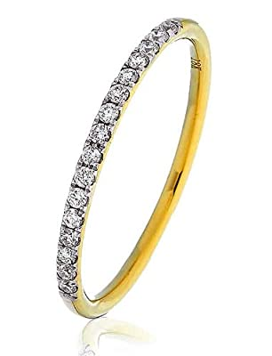 0.15CT Certified G/VS2 Round Brilliant Cut Half Eternity Diamond Ring in 18K Yellow Gold