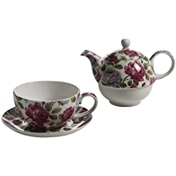 Maxwell & Williams S340462 Royal Old England Teeservice für 1 Person, Teekanne, Teetasse, Untertasse, Motiv: Teerose, in Geschenkbox, Porzellan