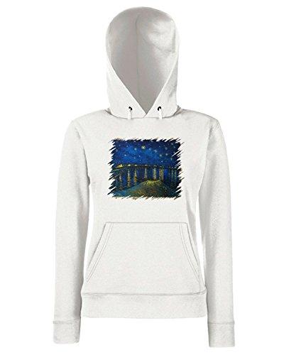 T-Shirtshock - Sweats a capuche Femme TDA0126 van gogh125 notte stellata sul rodano Blanc