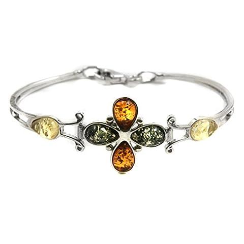 Ambre multicolore Argent 925/1000 Bracelet Fleurs 19cm