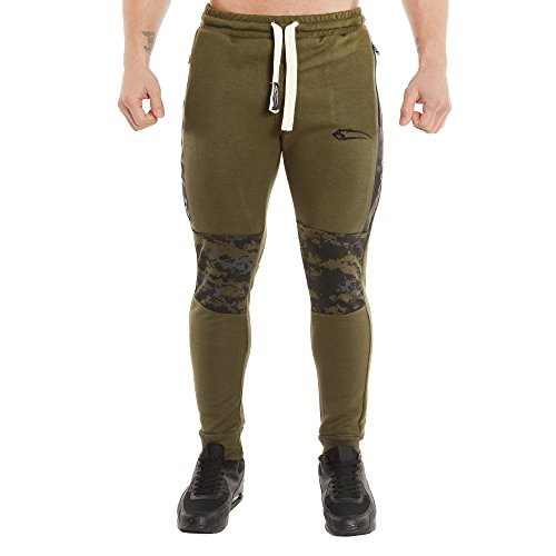 SMILODOX Slim Fit Herren Jogginghose Dynamic | Trainingshose für Sport Fitness Gym Training | Sporthose - Jogger Pants - Sweatpants Hosen - Freizeithose Lang Olive Camouflage