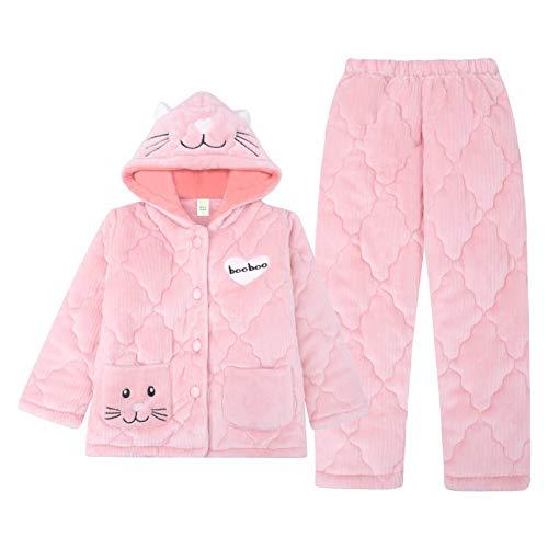 OPPP Kinderschlafanzug Mädchen Winter Pyjamas verdickt Korallenfleece, um warm zu halten 12-jährige Mädchen große Kinder 15-jährige Kinderheim-Dienstanzug, 160-165 cm