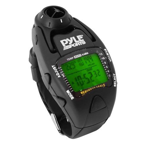 Pyle Uhr Windgeschwindigkeitsmesser mit Gefühlt Temp Höhenmesser Barometer und Kompass Yacht Timer, Schwarz, PSWWM90BK