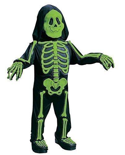 Jungen Kinder Kinder Weiß Grün Halloween Skelett Kostüm Kleid Outfit 2-3 jahre - Grün, 2-3 (Jahr Alt Halloween 2 Kostüme)