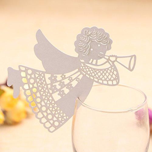 Manyo 50 Stück Glas Platzkarten Tischkarten, Engelsform, ideale Dekoration und Geschenk für Hochzeit, Geburtstage, Party, Festival. (Weiß)