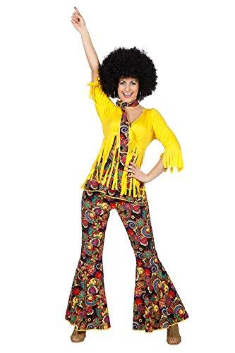 Hippie Hippiekostüm Damen 70er Jahre Look Hippieanzug Schlaghose Retro Größe 34 bis 48 (42)