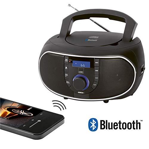 Clatronic SR 7028 BT/CD Stereoradio mit Bluetooth und CD, AUX-IN, LCD-Display und Hauptregler (blau beleuchtet), Schwarz