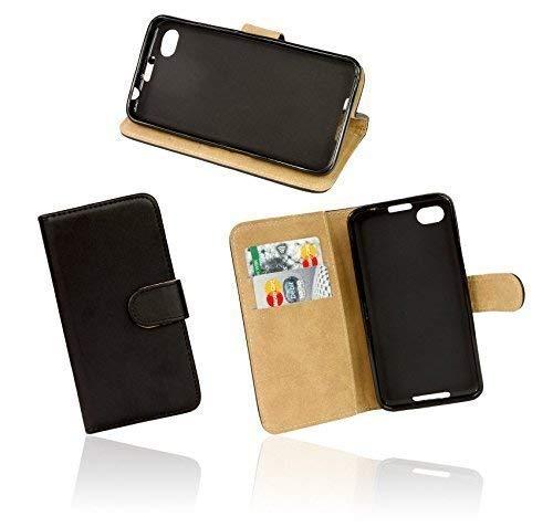 ENERGMiX Elegante Buch-Tasche kompatibel mit Alcatel One Touch Pop C7 7041D in Schwarz Leder-Optik Wallet Book-Style