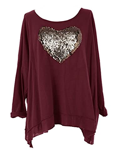 TEXTURE ONLINE Ladies Women Italian Lagenlook Quirky Sequin HEART Long Sleeve Thick Cotton Loose Baggy Oversized Top Blouse Sweatshirt One Size Plus UK 12-20 (One Size Plus,