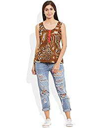 Very Me Women's Cotton Printed Short Top Size:- 38 / Xl (Brown)
