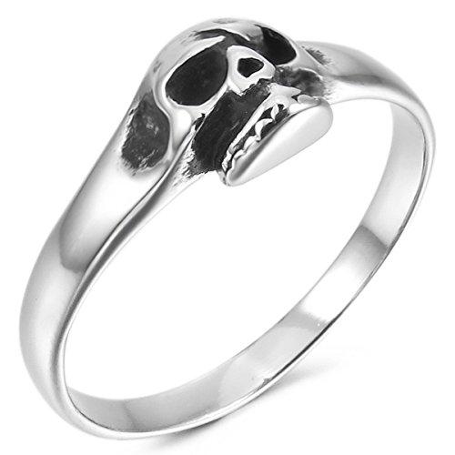 MunkiMix Acero Inoxidable Anillo Ring Banda Venda El Tono De Plata Cráneo Calavera Gótico Gothic Talla Tamaño 12 Hombre