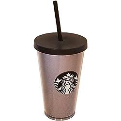 Starbucks plateado/negro con purpurina vacaciones 2017vaso, grande colección de vacaciones de invierno