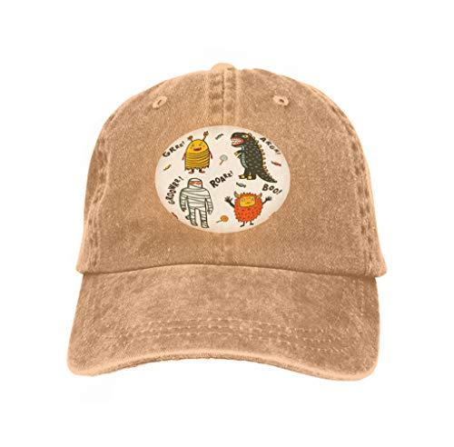 Men's Vintage Dad Cowboy Hat Adjustable Baseball Cap Halloween Monsters Costumes White Background Cartoon Halloween Monsters Costumes White (Jesus Affe Kostüm)