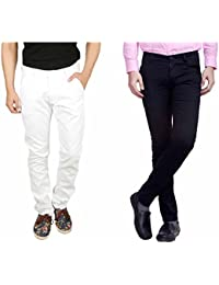 Nimegh White and Black Color Cotton Casual Slim fit Trouser For Men's (Pack Of 2)