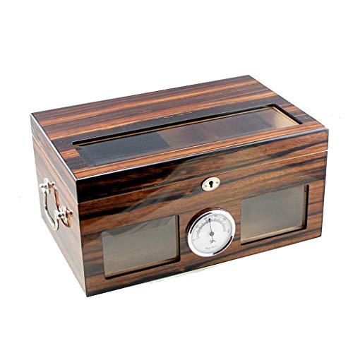 Scatola di sigari - fodera in legno di cedro a temperatura e umidità costanti con umidificatore e igrometro in vetro di grande capienza contenitore da viaggio umidificatore per sigari scatola regalo