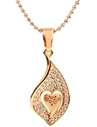 Ananth Jewels Heart Shaped Rose Gold Plated Pendant Necklace For Women - B073T4C2XS