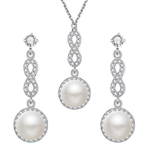 EVER FAITH 925 Sterling Silber Süßwasser-Zuchtperle CZ Braut Abbildung 8 Infinity Halskette Ohrringe Set