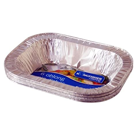 King Fisher Oblong Foil Pie Plats, argent, lot de 6