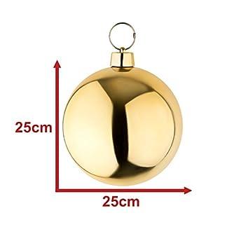 Bola de navidad grande Bola para el árbol de navidad en color dorado brillante de 25 cm de diámetro. Alta calidad para interiores y exteriores resistente a la intemperie. Con cinta dorada para colgar.