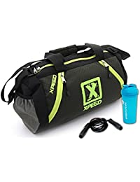 Gym Fitness Combo ((XpeeD Multi-pockets Multipurpose Grey Green Fitness Exercise Gym Bag + Skipping Exercise Rope...