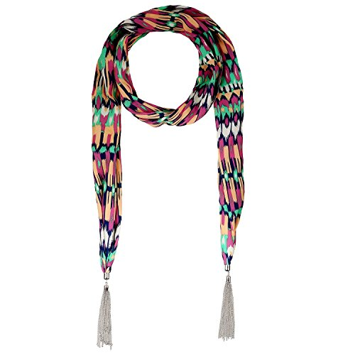 Lureme® stile bohemien vendemmia metallo nappe tono rodio con la stampa del modello di colore multi collana della sciarpa (01003180-3) verde