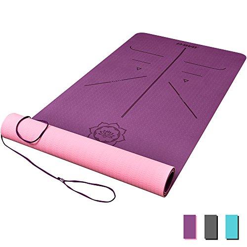 DAWAY Rutschfeste TPE Yogamatte Schadstofffrei - Y8 Dicke Gymnastikmatte Fitnessmatte Sportmatte für Yoga, Pilates und Fitness, Weich, mit Körperausrichtungssystem, 183 x 66 x 0,6 cm, 1 Jahr Garantie