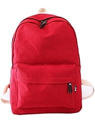 Tongshi Bolso de las mujeres de la escuela bolsa de mano de la muchacha Mochila Mochila viaje (rojo)