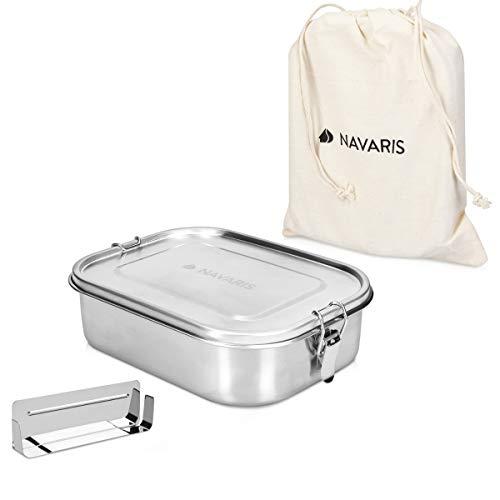 Navaris Brotdose Lunchbox Brotbox aus Edelstahl - Vesperdose Box Behälter aus Metall - auslaufsicher BPA-frei kunststofffrei - spülmaschinenfest