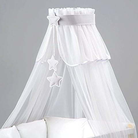 Dosel de cuna Soporte con soporte para cama de bebé, diseño de estrellas, color Gris