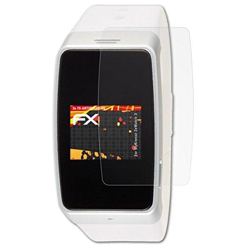 atFoliX Schutzfolie kompatibel mit MyKronoz ZeWatch 3 Bildschirmschutzfolie, HD-Entspiegelung FX Folie (3X)