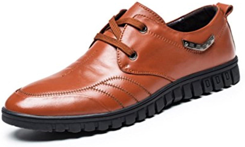LYZGF Zapatos De Cuero De Cordones Puntiagudos De Moda Casual Para Hombres,Brown-41 -