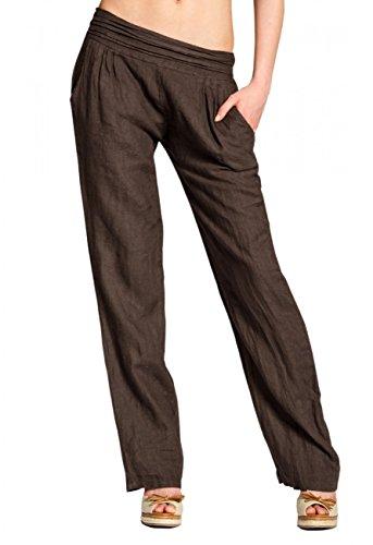 CASPAR KHS020 Damen Leinen Hose , Farbe:dunkelbraun;Größe:46 3XL UK18 US16 (Leinen Braun)