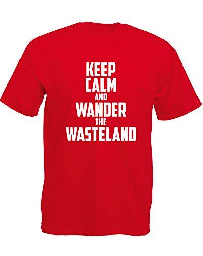 Brand88 - Brand88 - Keep Calm and Wander the Wasteland, Mann Gedruckt T-Shirt Rote/Weiß