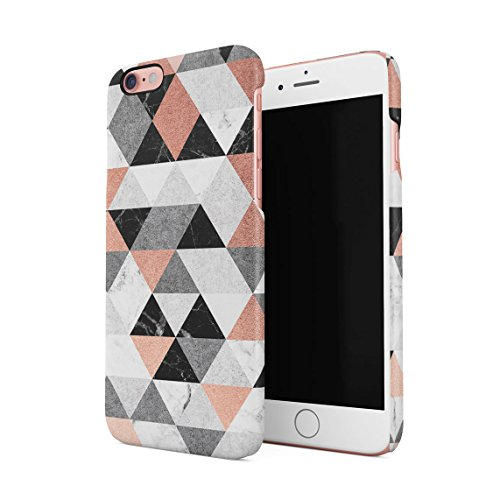 Grey & Rose Gold Moroccan Tiles Pattern Custodia Posteriore Sottile In Plastica Rigida Cover Per iPhone 6 Plus & iPhone 6s Plus Slim Fit Hard Case Cover Colourful Triangles