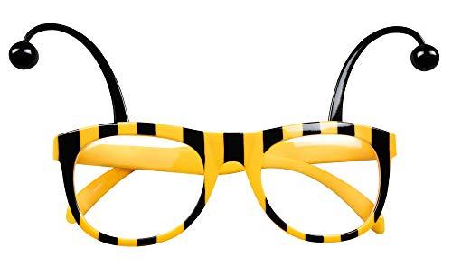 Bienen Brille für Erwachsene - Gelb/Schwarz - Zubehör Honigbienen Wespen Hummel Kostüm Fasching Mottoparty Junggesellenabschied
