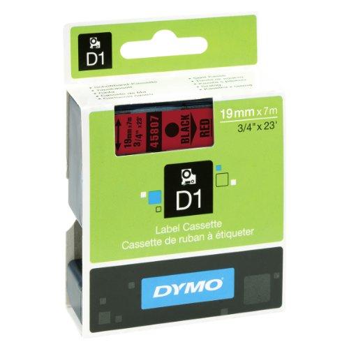 Preisvergleich Produktbild Dymo S0720870 D1-Etiketten (Selbstklebend, für den Drucker LabelManager, 19 mm x 7 m Rolle) schwarz auf rot