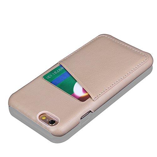 iPhone 6 / iPhone 6s 4.7 inch Handycover, LifeePro für iPhone 6 / iPhone 6s 4.7 inch Crazy Horse Pattern PU Leder Handycover mit Flip Stand Funktion Fotorahmen und Kartensteckplätze Abdeckung Rot Weiß