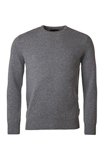 Grau Lammwolle Pullover (Great and British Knitwear. Herren 100% Lammwolle Pullover mit Rundhals-Ausschnitt, einfarbig. Made in Scotland-Taube Grau-Small)