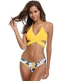SHEKINI Damen Bademode Push Up Bikini Set Zweiteilige Badeanzug  Strandkleidung Crossover Neckholder Triangel Oberteil Bandeau… 09ae3b2d59