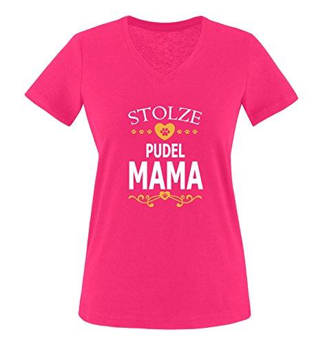 Herz Womens V-neck T-shirt (Comedy Shirts - Stolze Pudel Mama - Herz - Damen V-Neck T-Shirt - Pink/Weiss-Gelb Gr. M)