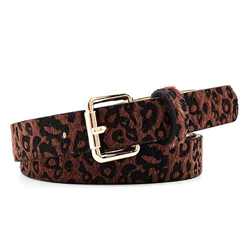 Hangarone Cinturón De Piel De Leopardo para Mujer Pantalones Vaqueros Cinturón De Cintura, Cinturón De Cuero Decorativo De Moda Leopardo para Vestidos - Camel/Café/Negro Nice-Looking