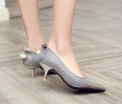 Aisun Damen Elegant Schleife Künstliche Perlen Mittler Absatz Pumps Silber