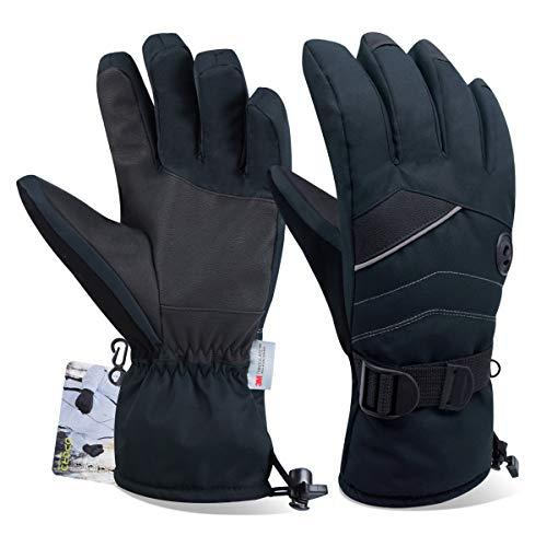 Opard Handschuhe Skihandschuhe Winterhandschuhe Thermohandschuhe extrem warm wasserdicht Winddicht rutschfest atmungsaktiv für Herren und Damen (Schwarz, M)