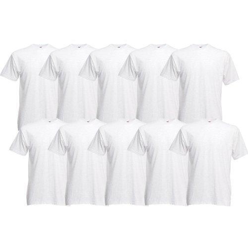 10 Fruit of the Loom T-Shirt S-XXXL in verschiedenen Farben 3XL,Weiß