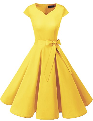 Dresstells Damen Vintage 50er Cap Sleeves Rockabilly Swing Kleider Retro Hepburn Stil Cocktailkleid Yelllow XL