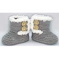 Patucos para bebé de crochet, Unisex. Estilo botas Canadá de color a elegir, realizadas en lana, tallas de 0 hasta 9 meses, hechos a mano en España. Regalo para bebé