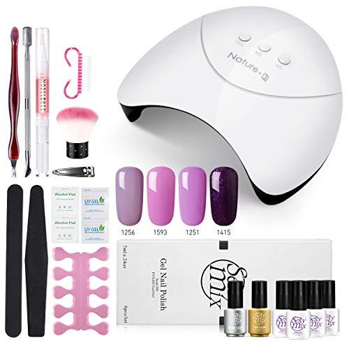 Sexymix UV Nagellack Starterset, LED Nageltrockner mit 4 Nagellack Kit, Base und Top Coat enthalten, Maniküre Tools Set
